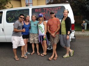 "Van 2 ""We Thought They Said Rum"": Martin, Jen, Amy, Rainie, Glenn, Kathy"