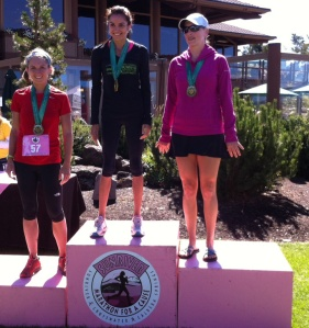 On the podium (far left) with my friend, and super-fast runner, Charmion in the middle (she finished 2nd woman overall)